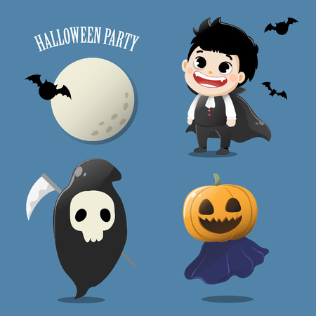 Set the ghost kids in the Halloween party. Illustration
