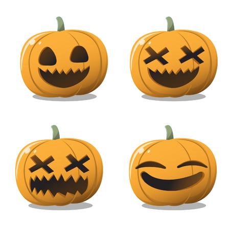 A set of pumpkins carved into a variety of ghosts on Halloween. Illustration