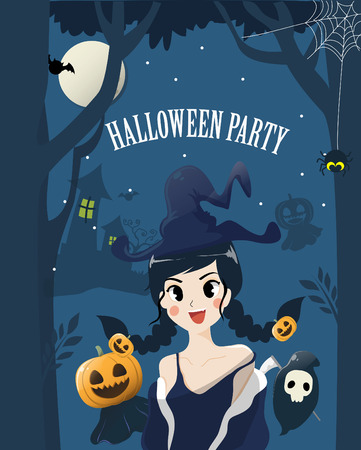 Beautiful Witches in the Dark and Horrible Halloween Night With the ghosts of friends.