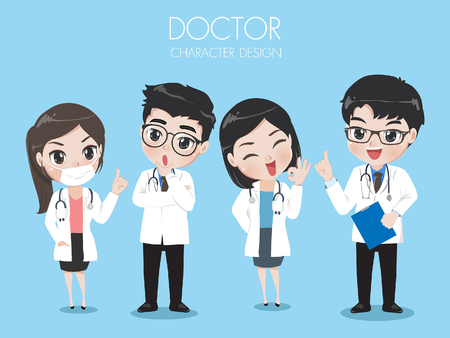 Doctors wear Uniform Work in the hospital and science lab. group of physicians medical doctor icon image vector illustration design. Standard-Bild - 123527560