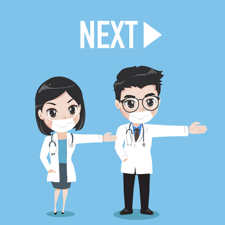 The female and male doctor are gestures hand to the left. The appearance is next turn. Illustration