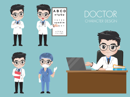 Doctors in various gestures in uniform. While he was working in the hospital. Illustration