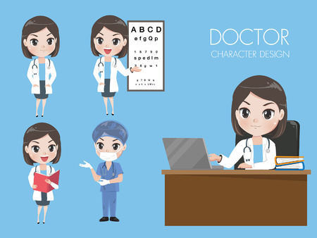 Female doctors in various gestures in uniform. While she was working in the hospital.