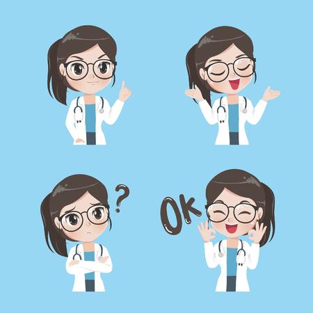 Lady doctor toont een verscheidenheid aan gebaren, emotie en acties in werkkleding. Vector Illustratie