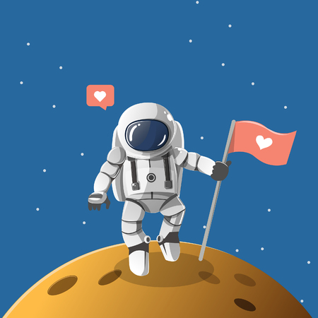 Astronaut is standing in the some planet and carrying a heart shaped flag.