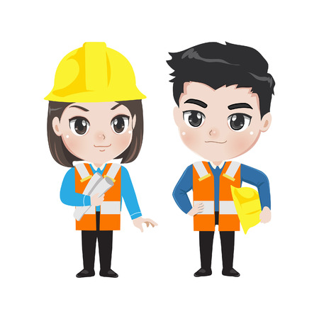 Illustration of two young workers isolated on white background engineer man and woman in work outfit. Illustration