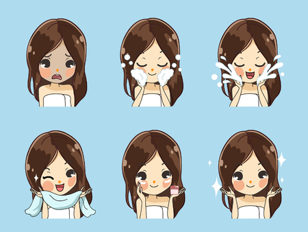 Demonstrate the process of facial cleansing by beautiful girls. Illustration