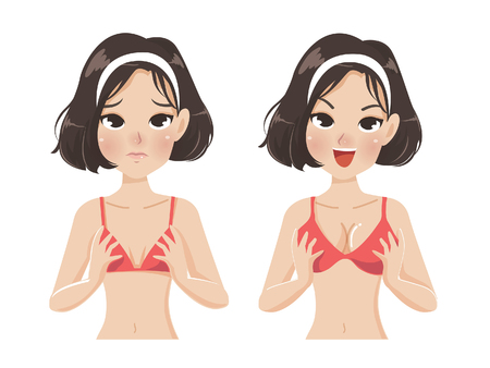 Women breasts that small size makes lack of confidence and big breasts make it look more beautiful and more confident.