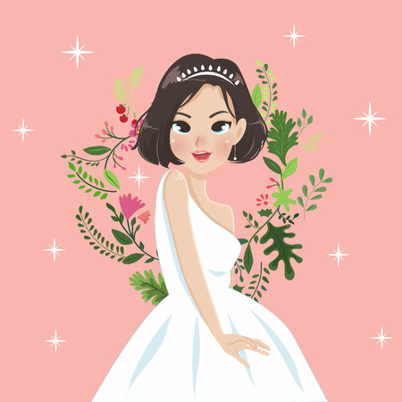 The beautiful young lady in a princess dress with a vintage flower carving. Illustration