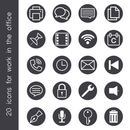 Icons for office use with various styles. Ilustrace