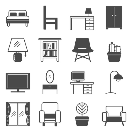 Furniture icon and decorate the house with dark gray on white background.