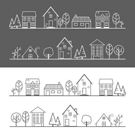 Icons, houses, trees and villages on a dark gray and white background Illustration