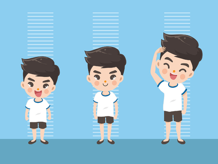 Height of child grow up. Little boy measuring his height on white color background. One boy in three levels. Short, medium, high,Height. difference child growth concepts. Stock Illustratie