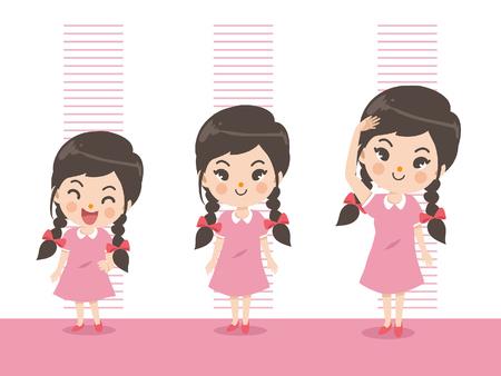 La altura del niño crece. Niña midiendo su altura sobre fondo de color blanco. Una niña en tres niveles. Corto, medio, alto, alto. diferencian los conceptos de crecimiento infantil.