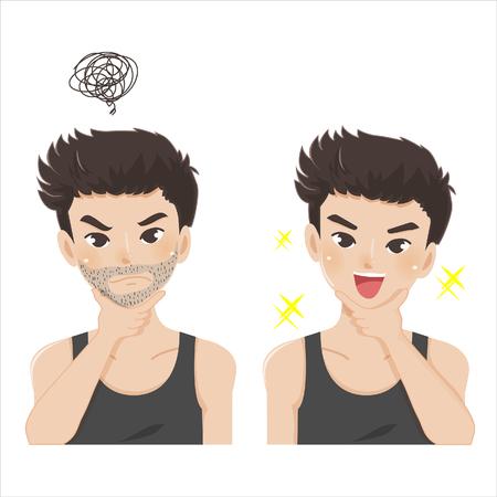 Junger Mann mit Stoppelbart vor und nach der Rasur.