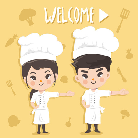 Chefs stand welcoming the customer with a happy and pleased expression. Standard-Bild - 123529025