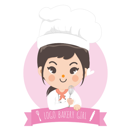 The little bakery girl chef's logo is happy,tasty and sweet smile. Illustration