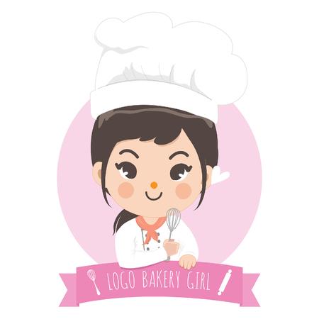 The little bakery girl chef's logo is happy,tasty and sweet smile. Standard-Bild - 123529027