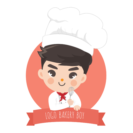 The little bakery boy chefs logo is happy,tasty and sweet smile. Ilustrace