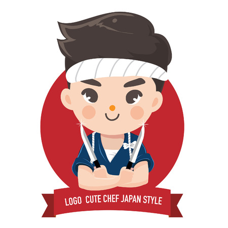 The little japan boy chef's logo is happy,tasty and confident smile.