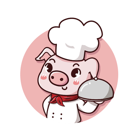 logo cute and friendly pig chef holds a delicious steak pork dish. Illustration