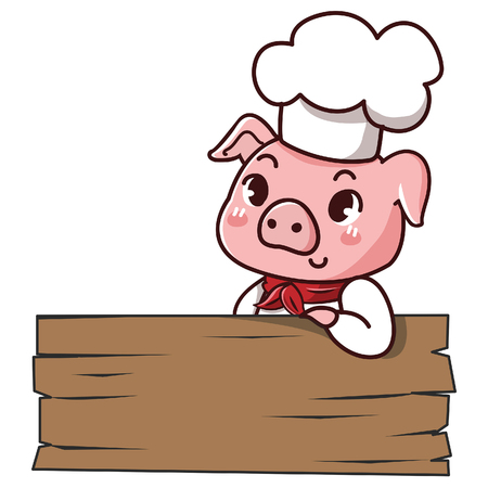 Pig chef holds a signage with space to put your message down.  イラスト・ベクター素材