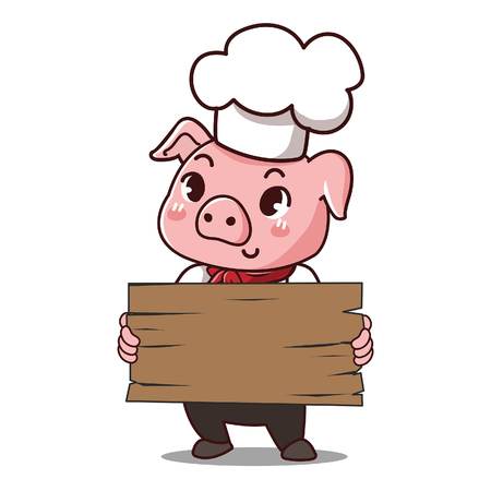 Pig chef holds a signage with space to put your message down. Illustration