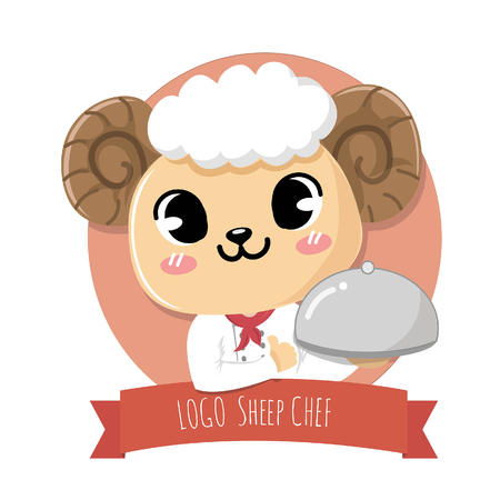 logo cute and friendly sheep chef holds a delicious steak lamb meat dish. Standard-Bild - 123529040