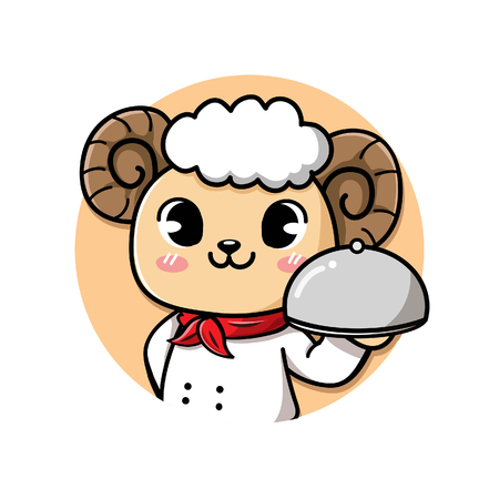 logo cute and friendly sheep chef holds a delicious steak lamb meat dish. Standard-Bild - 123529043