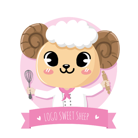 logo cute and friendly sweet sheep dessert chef holds a kitchen equipment.