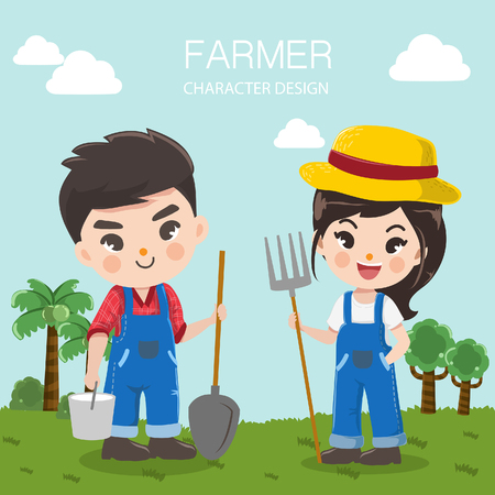 character design for livestock farms with farmers boy and girl in the background meadow and bright sky.