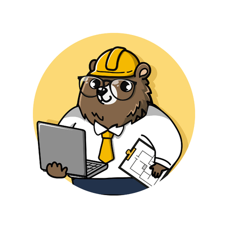 logo cute and friendly bear engineer holds a laptop computer and drawing documents.