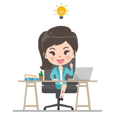 Businesswoman is thinking of ideas for creative work succeed with so glad in his office.