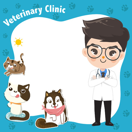 Template to enter text  for a veterinary clinic with a doctor and a cute pets as a decoration.Graphic design and illustration vector.