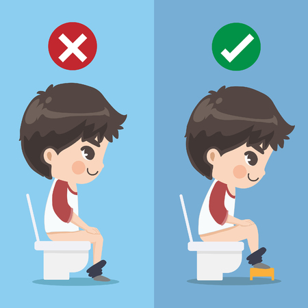 The boy demonstrates how to sit excrete properly. Is that there is a small chair for putting on the pedal to make it more convenient.Graphic design and illustration vector.
