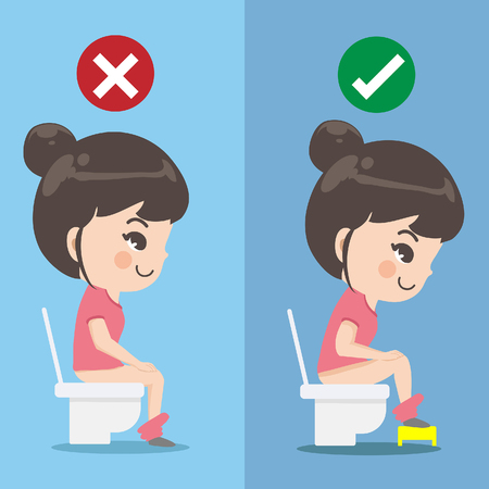 The girl demonstrates how to sit excrete properly. Is that there is a small chair for putting on the pedal to make it more convenient.Graphic design and illustration vector.