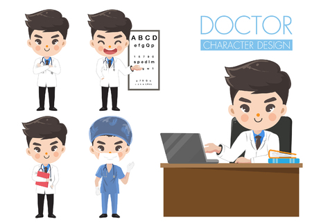 Doctors in various gestures in uniform. While he was working in the hospital.Graphic design and illustration vector.