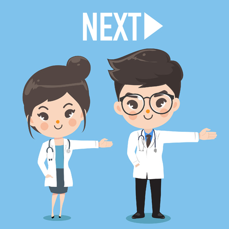 The female and male doctor gesture hand to the right. The appearance is next turn.Graphic design and illustration vector. Standard-Bild - 123529089
