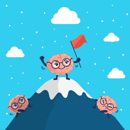 The brain climbs to the top of the mountain  with effort, intention and fatigue and finally succeeded.Graphic design and illustration vector.