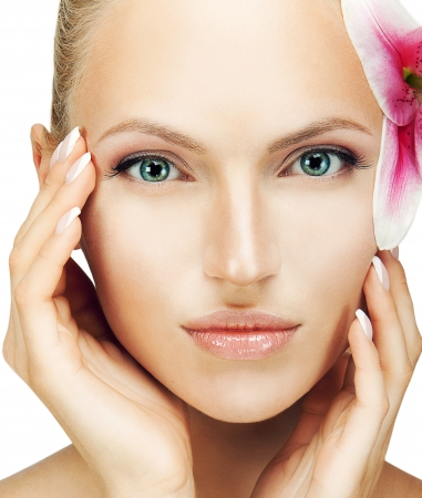 blondie: beautiful woman with a flower Stock Photo