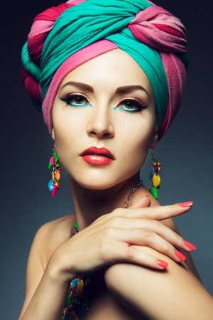 Beautiful lady with colored turban photo