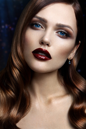 matte: Portrait of beautiful girl with dark lips and blue eyes Stock Photo
