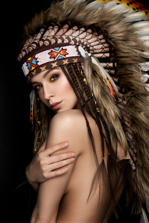 native american art: Beautiful ethnic lady with roach on her head. Indian