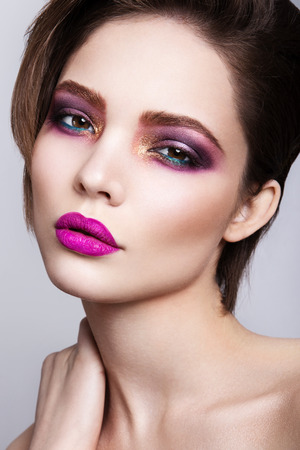 sexy funny: Glamour portrait of beautiful woman model with fresh daily makeup