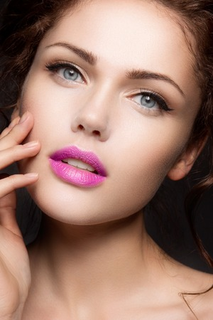 lips close up: Close-up portrait of beautiful woman with bright make-up Stock Photo