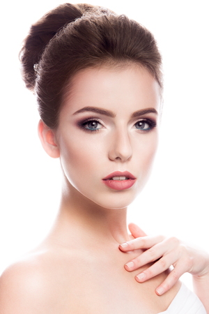 makeup face: Close-up portrait of beautiful woman with bright make-up and hairstyle.
