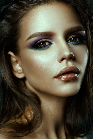 black makeup: Beautyful girl with bright make up Stock Photo