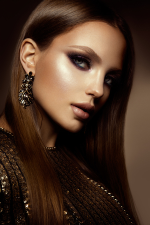 glamour makeup: Make up. Glamour portrait of beautiful woman model with fresh makeup and romantic hairstyle. Stock Photo