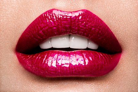 open lips: Sexy Lips. Beauty Red Lips Makeup Detail. Stock Photo