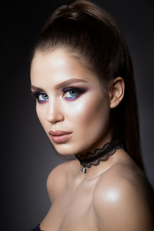 Beautyful girl with bright make up Stock Photo